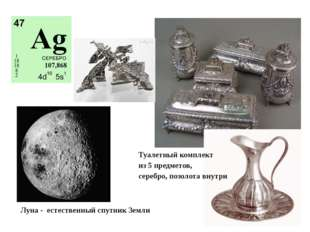 Луна - естественный спутник Земли Туалетный комплект из 5 предметов, серебро,