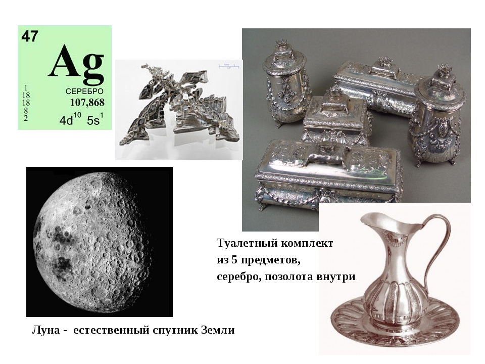 Луна - естественный спутник Земли Туалетный комплект из 5 предметов, серебро,...
