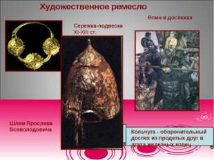 Художественное ремесло Шлем Ярослава Всеволодовича Сережка-подвеска ХІ-ХІІІ с