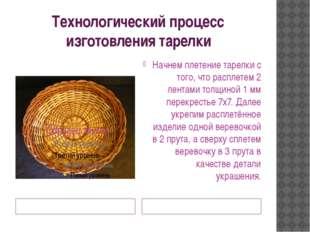 Технологический процесс изготовления тарелки Образец изделия Технология выпол