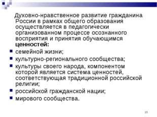 * Духовно‑нравственное развитие гражданина России в рамках общего образования