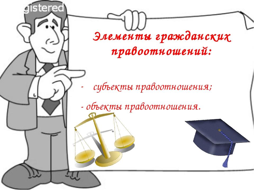 Элементы гражданских правоотношений: субъекты правоотношения; - объекты право...