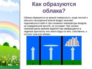 Как образуются облака? Облака образуются на земной поверхности, когда теплый