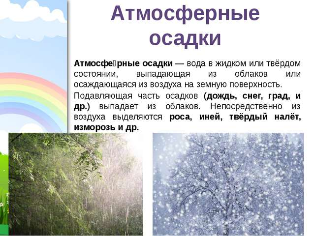 Атмосферные осадки Атмосфе́рные осадки — вода в жидком или твёрдом состоянии,...