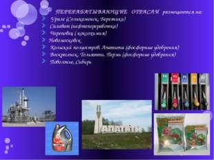 ПЕРЕРАБАТЫВАЮЩИЕ ОТРАСЛИ размещаются на: Урале (Соликаменск, Березники) Сала