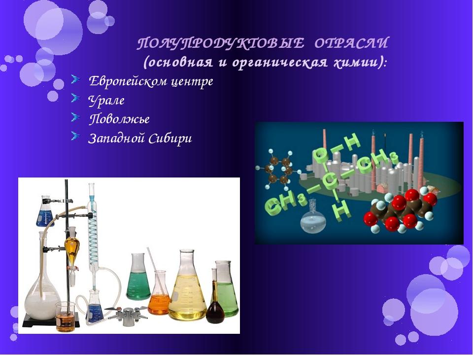 ПОЛУПРОДУКТОВЫЕ ОТРАСЛИ (основная и органическая химии): Европейском центре У...