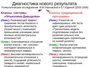Диагностика нового результата Психологические исследования И.М.Улановской и Е