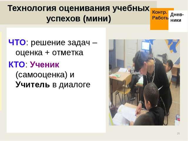 * Технология оценивания учебных успехов (мини) ЧТО: решение задач – оценка +...