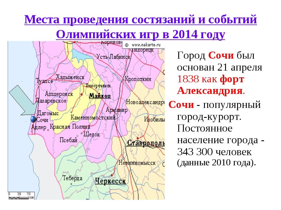 Места проведения состязаний и событий Олимпийских игр в 2014 году ГородСочи...