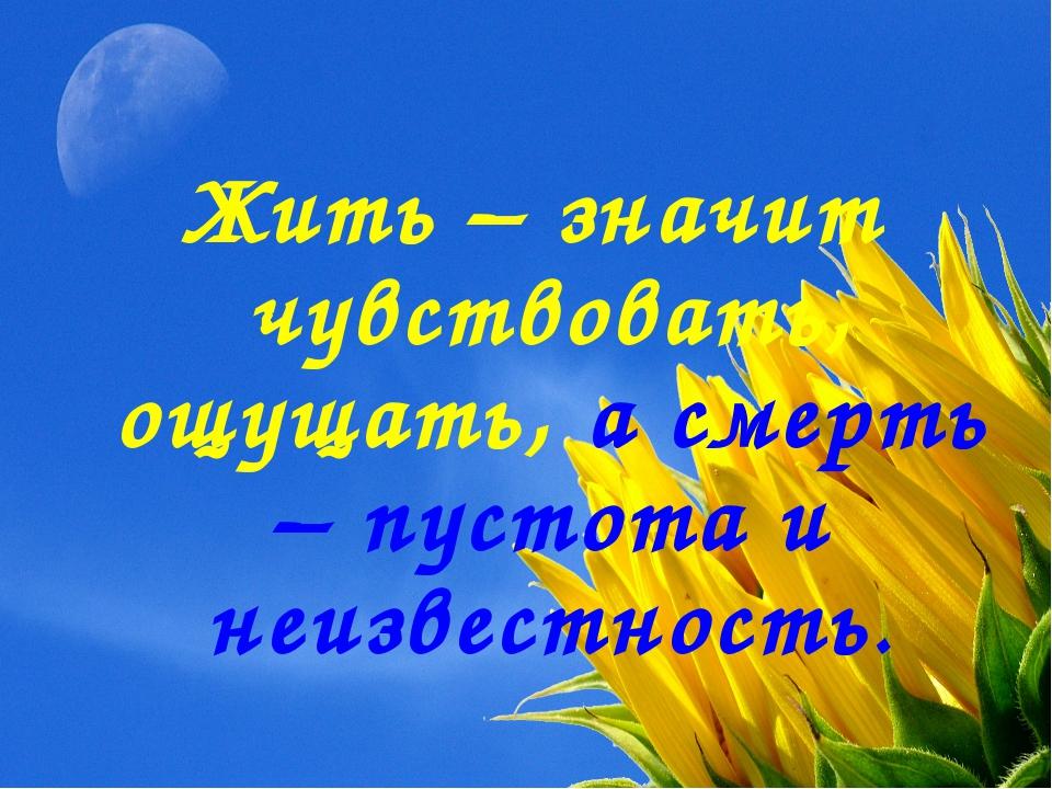 Жить – значит чувствовать, ощущать, а смерть – пустота и неизвестность.