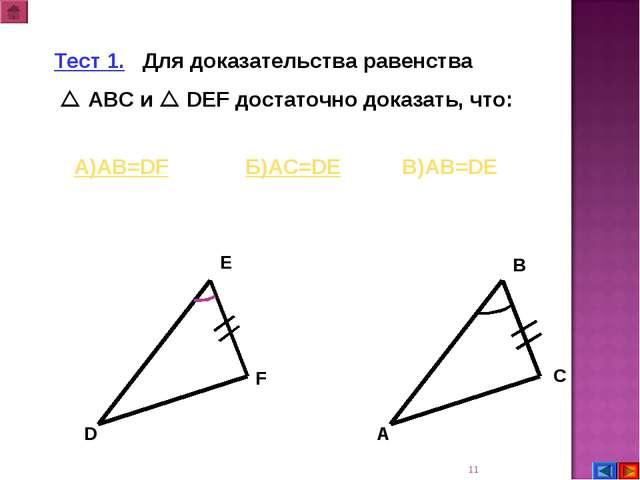 * А В С D E F Тест 1. Для доказательства равенства  АВС и  DEF достаточно д...