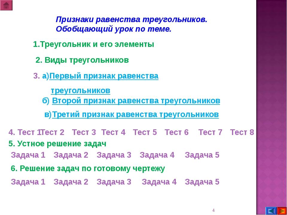 * Признаки равенства треугольников. Обобщающий урок по теме. 1.Треугольник и...