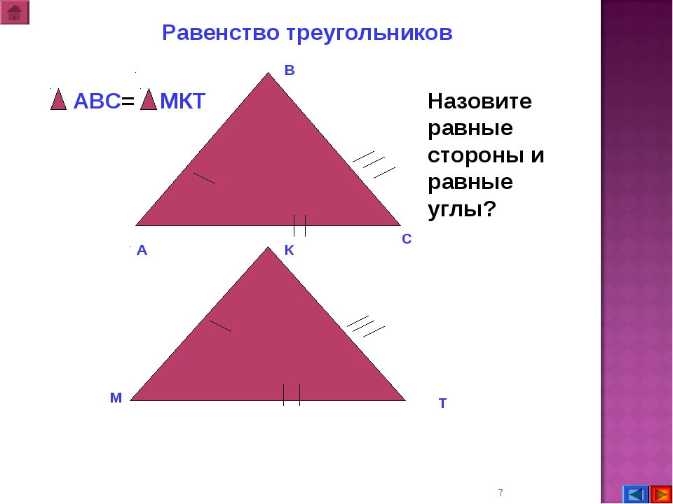 * В С А М К Т АВС= МКТ Равенство треугольников Назовите равные стороны и равн...