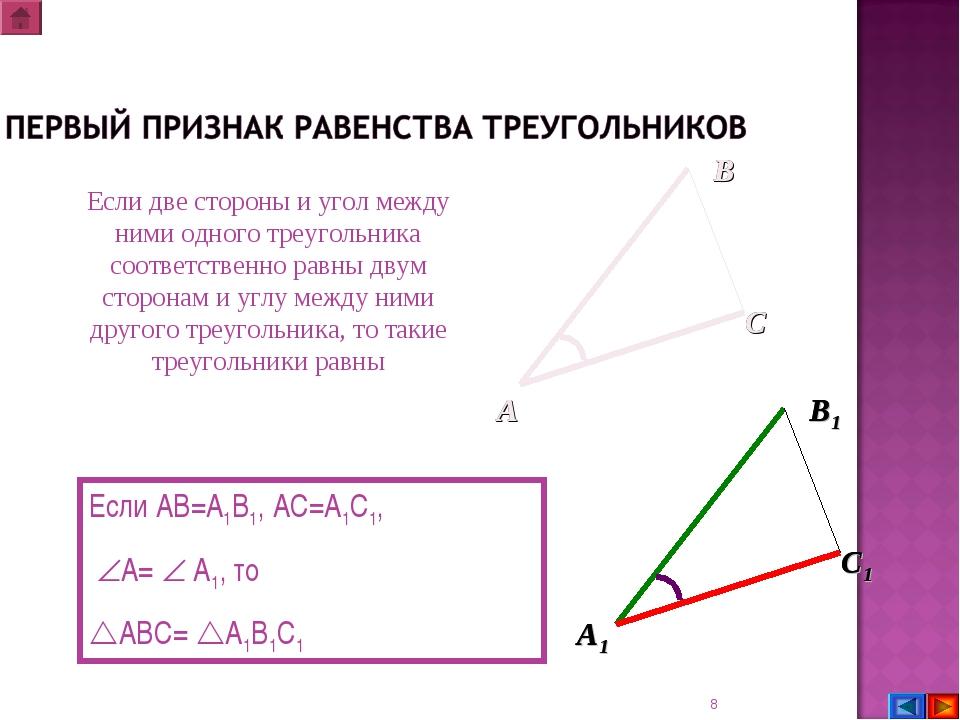 * Если две стороны и угол между ними одного треугольника соответственно равны...