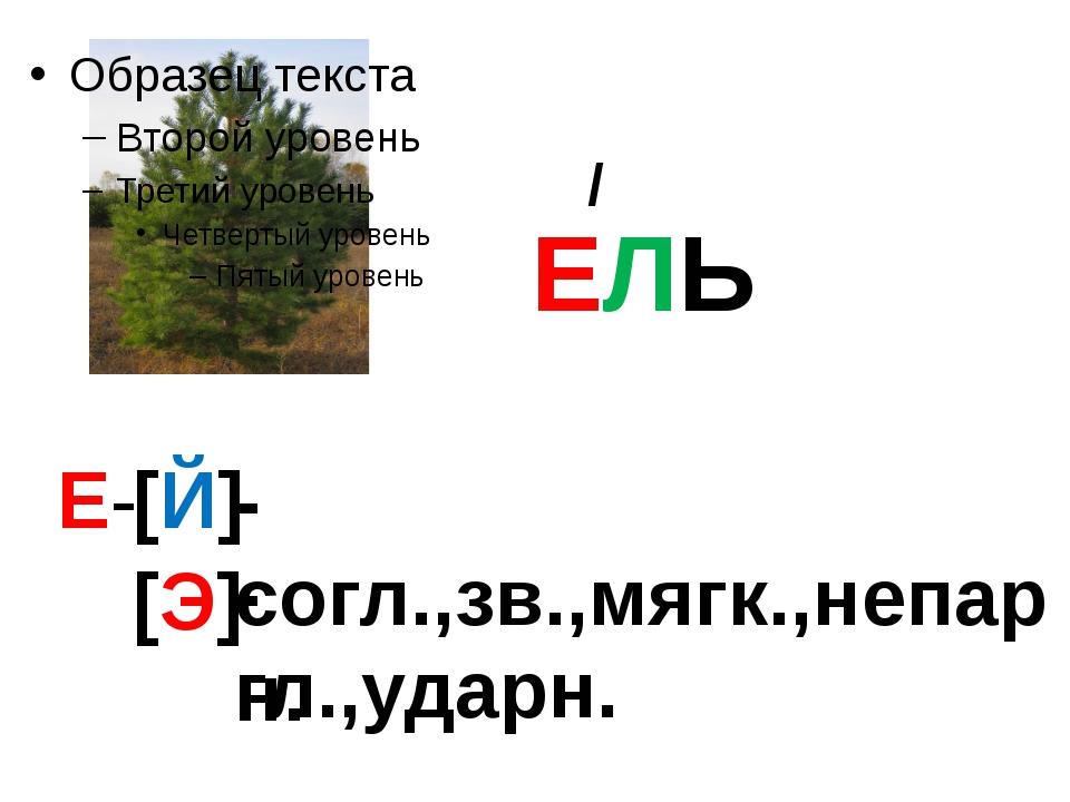 ЕЛЬ / Е- [Й] -согл.,зв.,мягк.,непарн. [Э] -гл.,ударн.