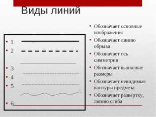 Виды линий 1 2 3 4 5 6 Обозначает основные изображения Обозначает линию обрыв