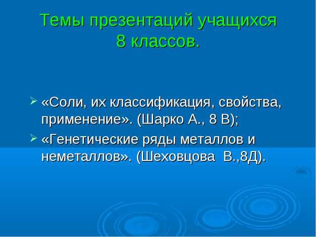 Темы презентаций учащихся 8 классов. «Соли, их классификация, свойства, приме...