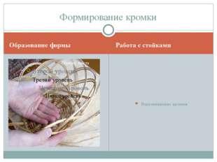 Образование формы Работа с стойками Выравнивание кромки. Формирование кромки