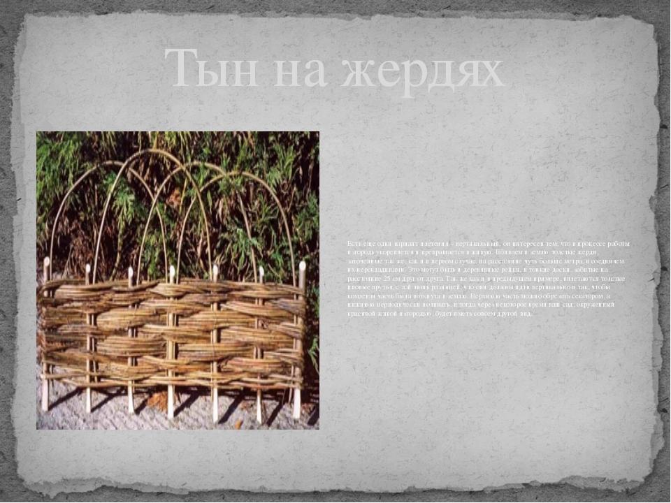 Тын на жердях Есть еще один вариант плетения – вертикальный, он интересен тем...