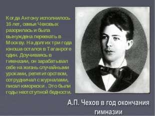 Когда Антону исполнилось 16 лет, семья Чеховых разорилась и была вынуждена п