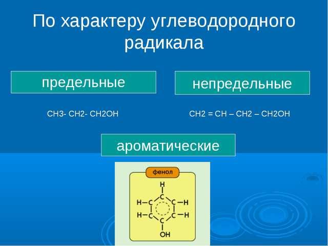 По характеру углеводородного радикала предельные непредельные ароматические С...