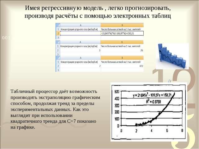 Имея регрессивную модель , легко прогнозировать, производя расчёты с помощью...