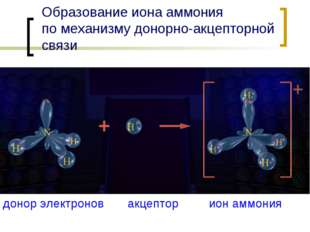 Образование иона аммония по механизму донорно-акцепторной связи донор электро