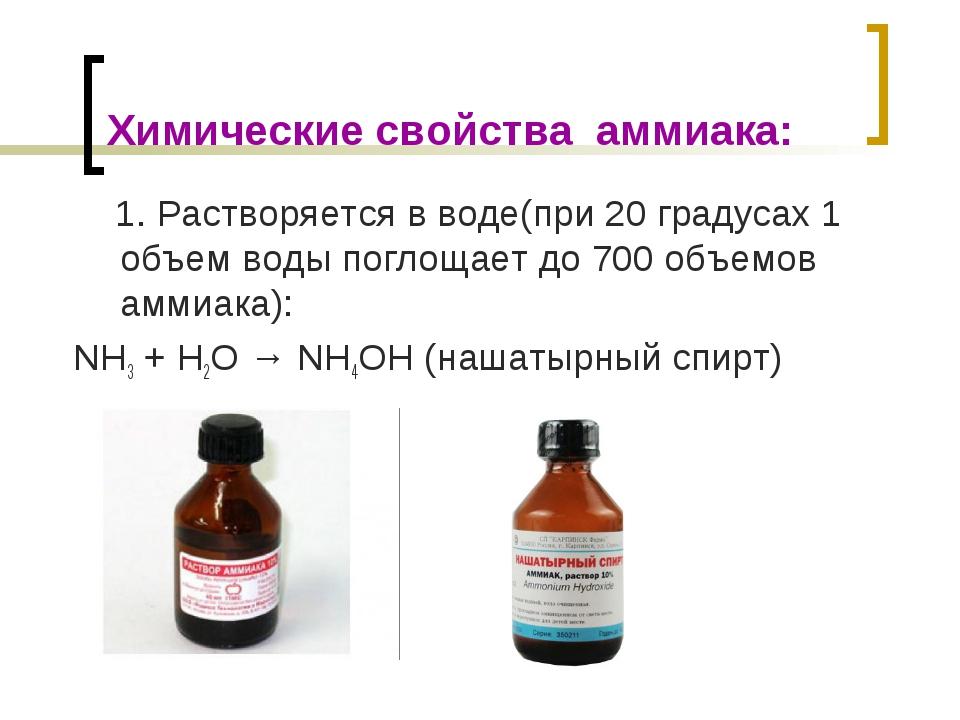 Химические свойства аммиака: 1. Растворяется в воде(при 20 градусах 1 объем в...
