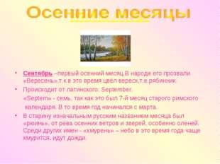 осенние месяцы Сентябрь –первый осенний месяц.В народе его прозвали «Вересень