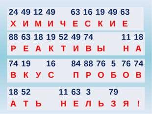 24 49 12 49 63 16 19 49 63 Х И М И Ч Е С К И Е 88 63 18 19 52 49 74 11 18 Р