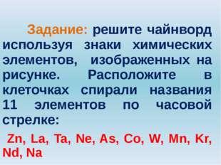 Задание: решите чайнворд используя знаки химических элементов, изображенных