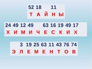 24 49 12 49 63 16 19 49 17 Х И М И Ч Е С К И Х 52 18 11 Т А Й Н Ы 3 19 25 63