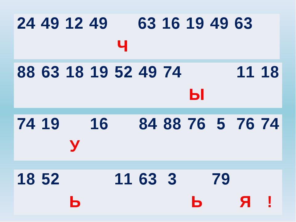 24 49 12 49 63 16 19 49 63 Ч 88 63 18 19 52 49 74 11 18 Ы 74 19 16 84 88 76...