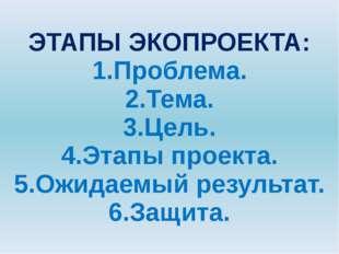 ЭТАПЫ ЭКОПРОЕКТА: 1.Проблема. 2.Тема. 3.Цель. 4.Этапы проекта. 5.Ожидаемый ре