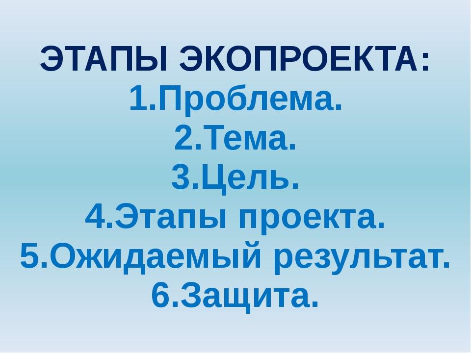 ЭТАПЫ ЭКОПРОЕКТА: 1.Проблема. 2.Тема. 3.Цель. 4.Этапы проекта. 5.Ожидаемый ре...