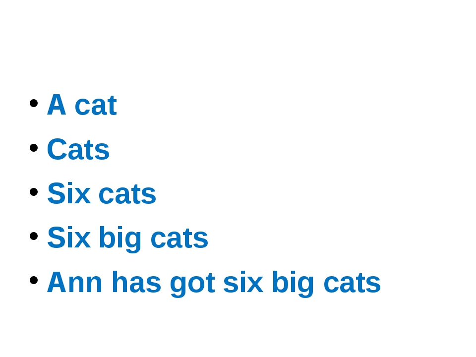 A сat Cats Six cats Six big cats Ann has got six big cats