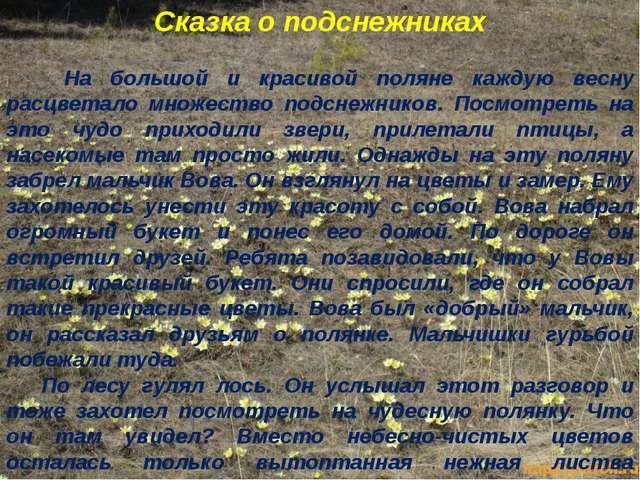 Сказка о подснежниках На большой и красивой поляне каждую весну расцветало мн...