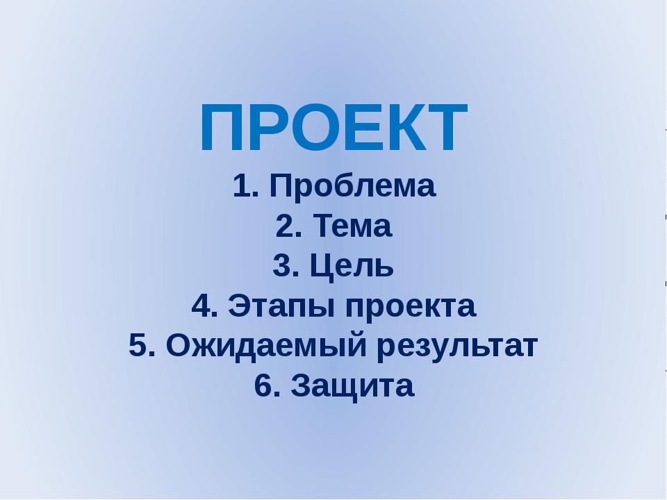 ПРОЕКТ 1. Проблема 2. Тема 3. Цель 4. Этапы проекта 5. Ожидаемый результат 6...