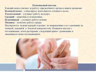 Пальчиковый массаж. Каждый палец отвечает за работу определённого органа в на