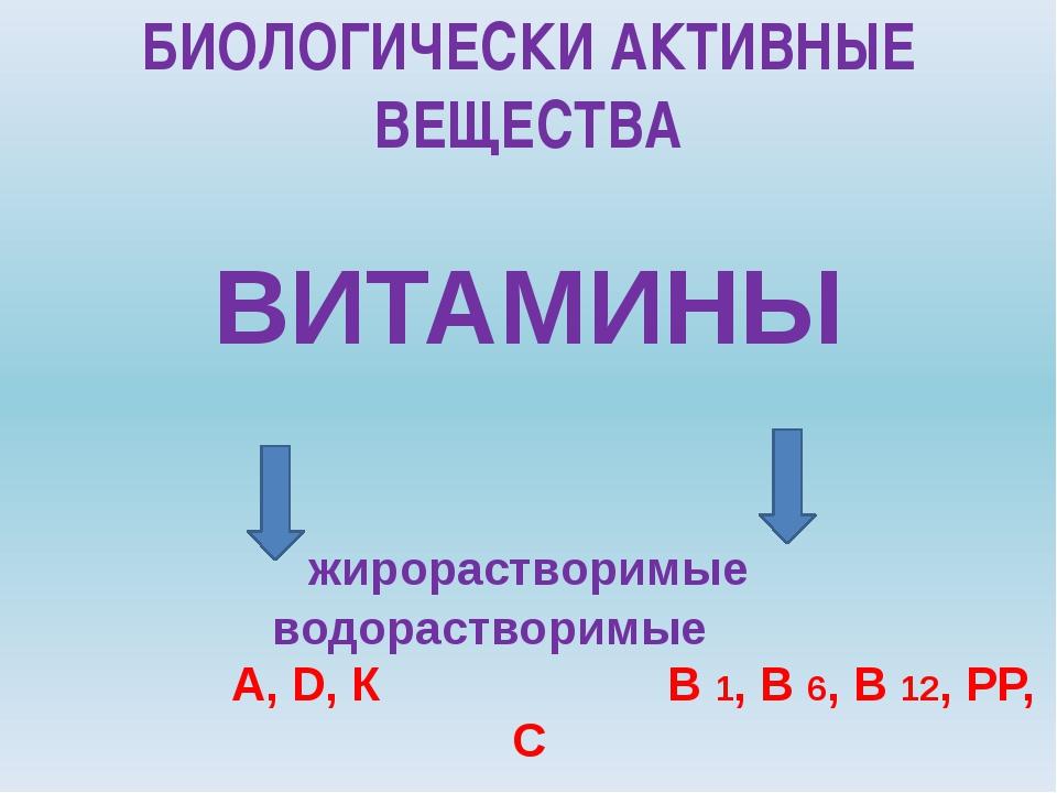 ВИТАМИНЫ жирорастворимые водорастворимые А, D, К В 1, В 6, В 12, РР, С БИОЛО...