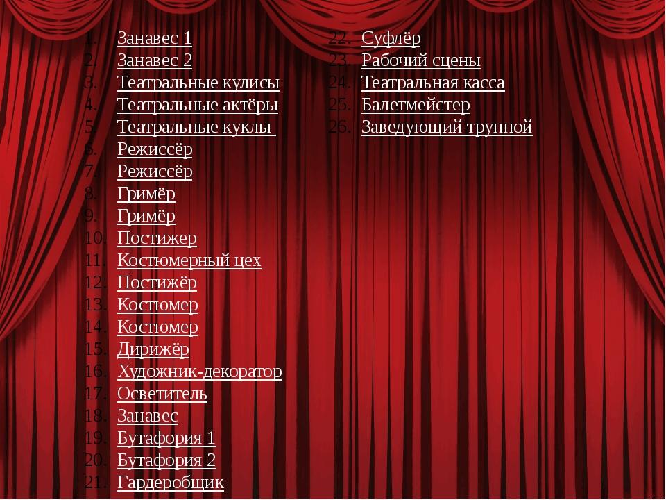 Занавес 1 Занавес 2 Театральные кулисы Театральные актёры Театральные куклы Р...