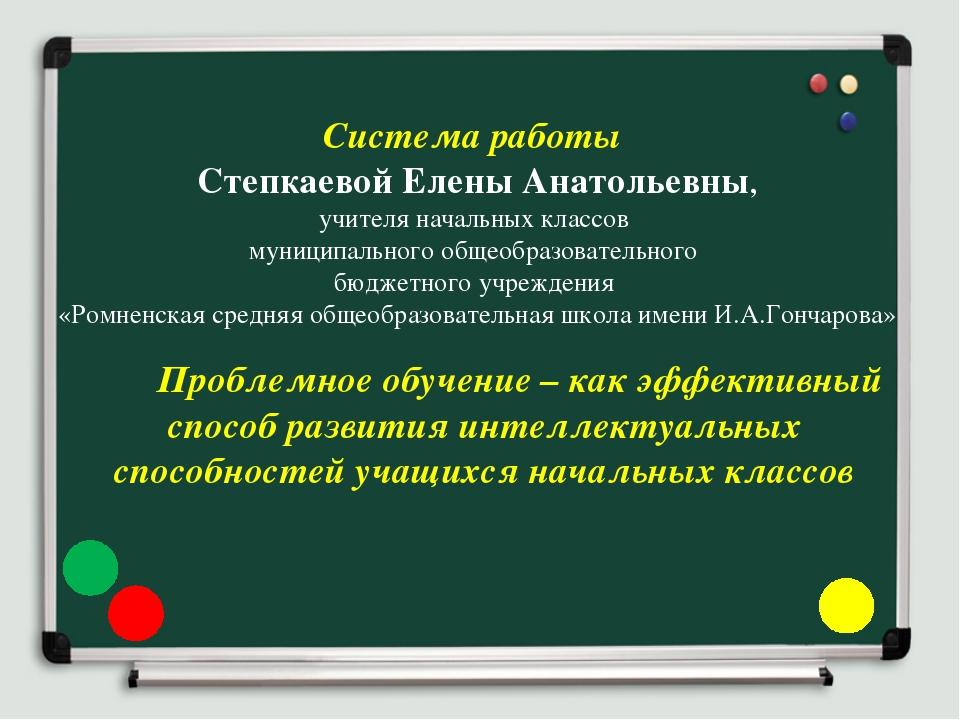 Система работы Степкаевой Елены Анатольевны, учителя начальных классов муниц...