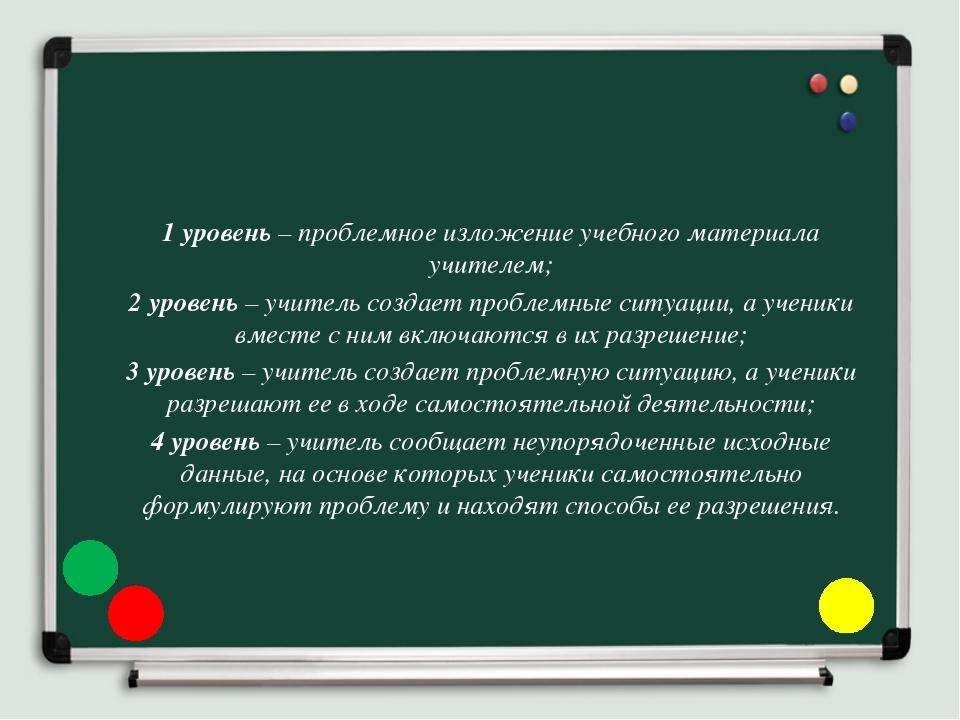 1 уровень – проблемное изложение учебного материала учителем; 2 уровень – учи...