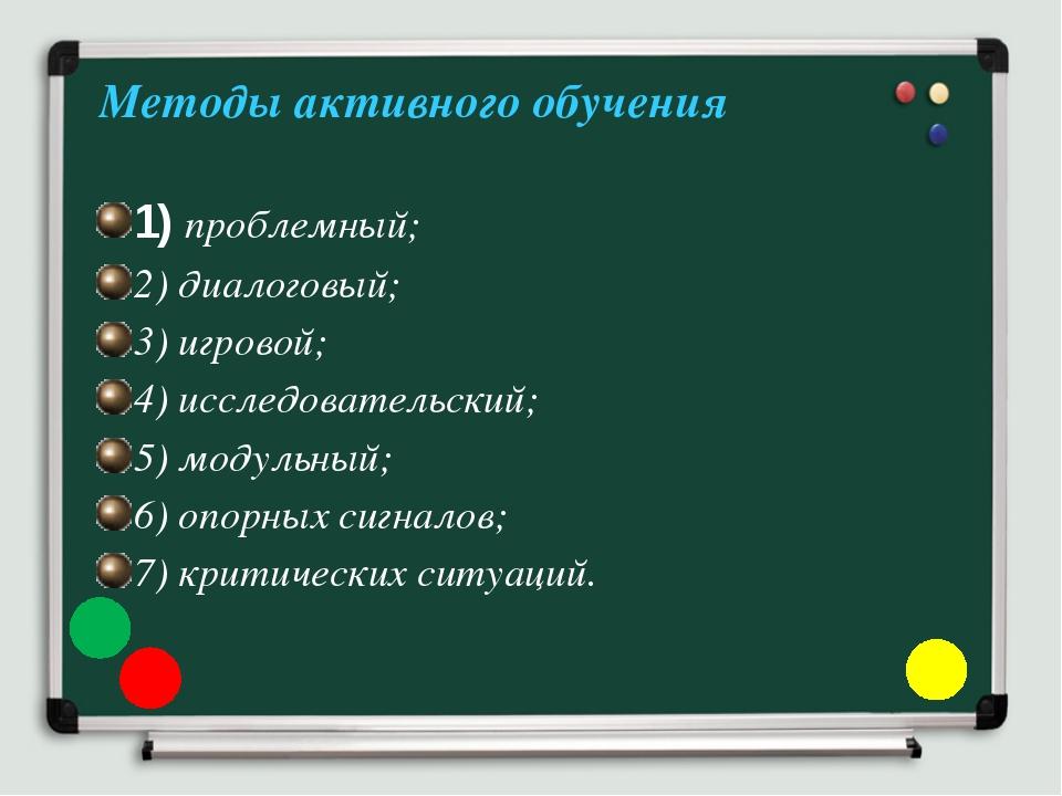 Методы активного обучения 1) проблемный; 2) диалоговый; 3) игровой; 4) иссле...