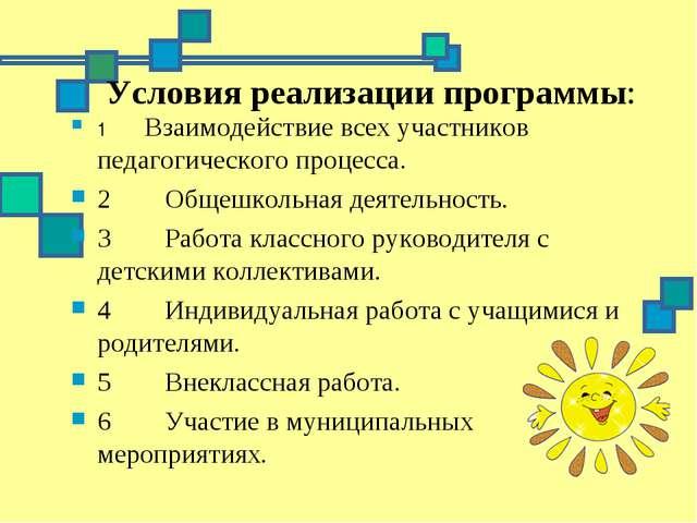 Условия реализации программы: 1 Взаимодействие всех участников педагог...