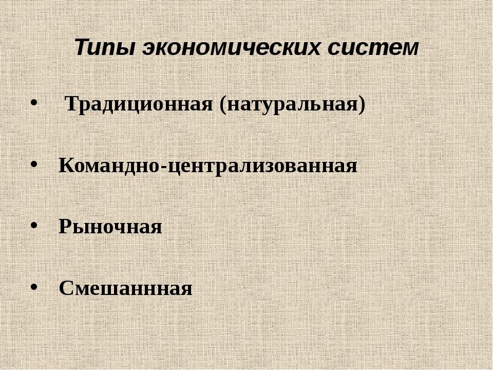 Типы экономических систем Традиционная (натуральная) Командно-централизованна...