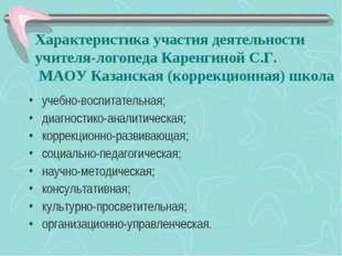 Характеристика участия деятельности учителя-логопеда Каренгиной С.Г. МАОУ Ка