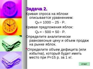 Задача 2. Кривая спроса на яблоки описывается уравнением: Qd = 1000 – 25 ·