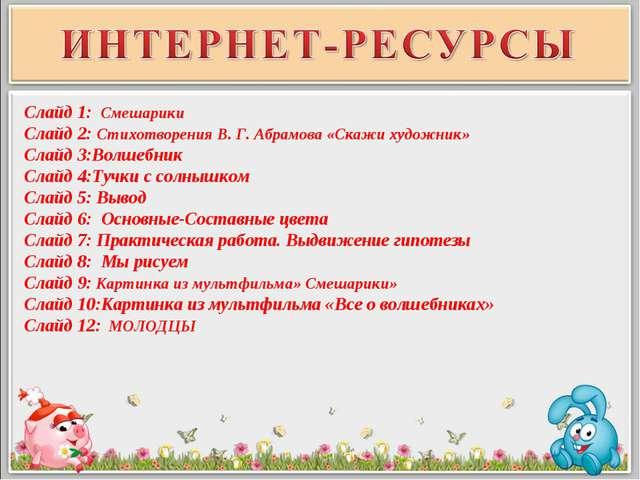 Слайд 1: Смешарики Слайд 2: Стихотворения В. Г. Абрамова «Скажи художник» Сла...