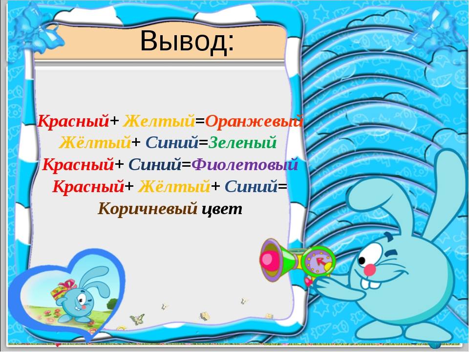 Вывод: Красный+ Желтый=Оранжевый Жёлтый+ Синий=Зеленый Красный+ Синий=Фиолето...